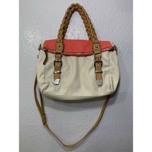 PRE-OWNED APT.9 HAND BAG PURSE IVORY CORAL TAN A16